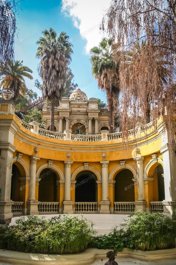 Arched building in the  park on Santa Lucia Hill in Santiago