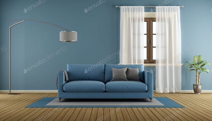 Sala de estar azul con De madera