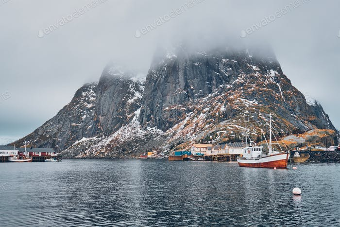 Ship in Hamnoy fishing village on Lofoten Islands, Norway