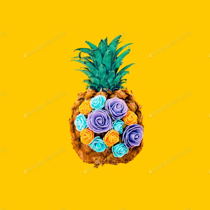 Creative design pineapple and flowers. Minimal surreal art