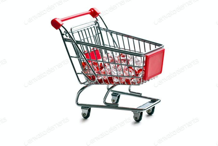 shopping cart with glass stones