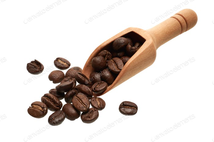 Coffee beans in a wooden scoop