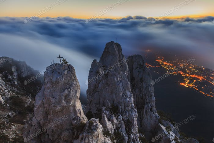 Amazing view from Ai-Petri mountain. Evening Crimea.