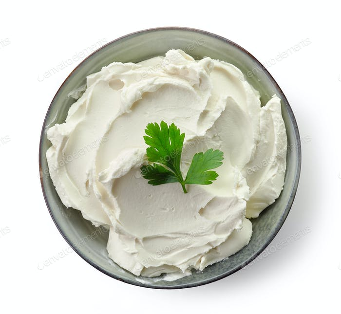 Bowl of cream cheese