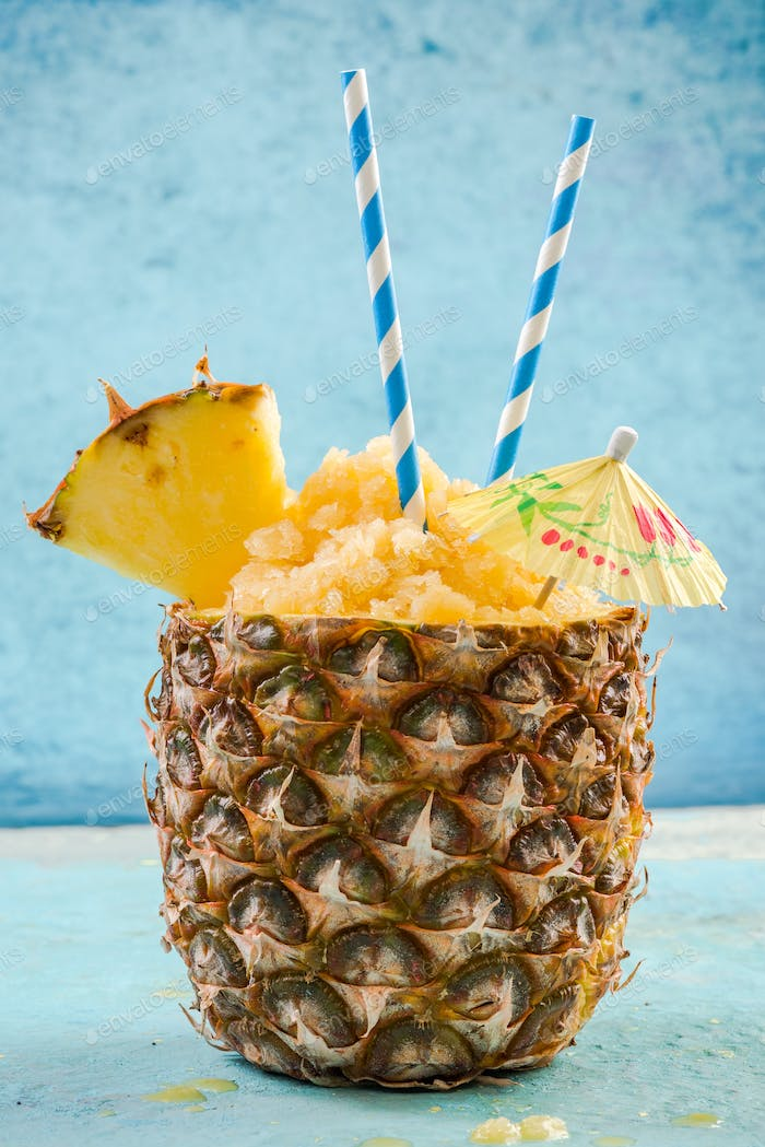 Ice cold sorbet served in pineapple