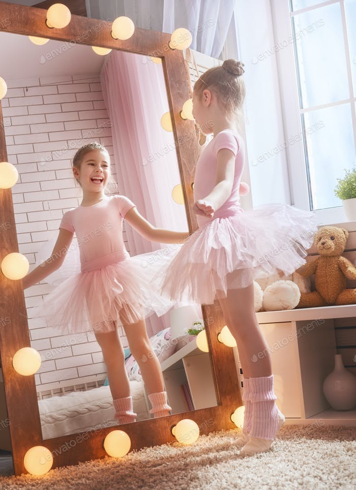 girl dreams of becoming a ballerina