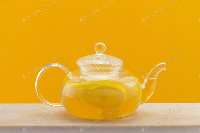 Healthy Warming Beverage with Lemon, Ginger Root and Honey