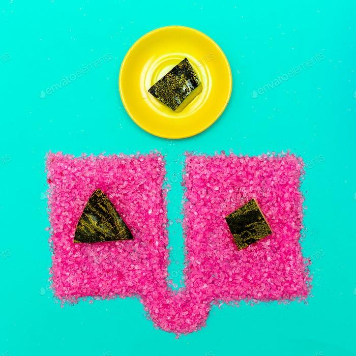 Art gallery. Fashion Glitter. Summer mood concept. Watermelon ri