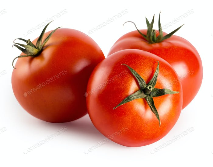 Three red ripe tomatoes