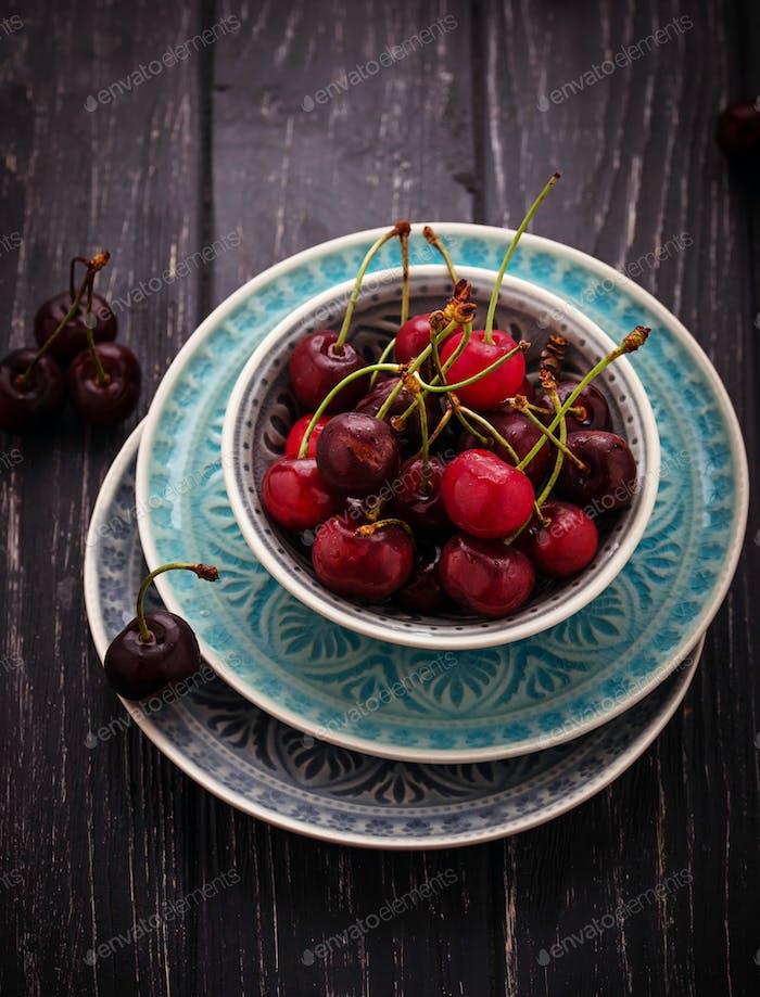 Sweet ripe cherry in bowl