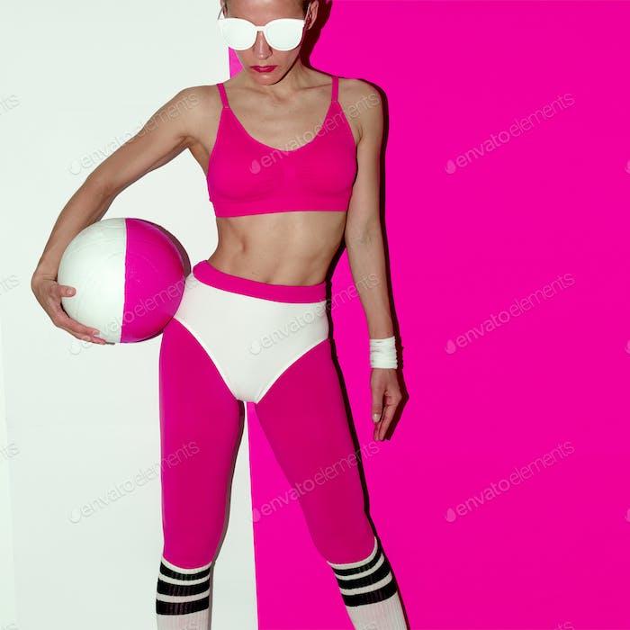 Fitness training vibration. Football. Pop art style. Fashion gir
