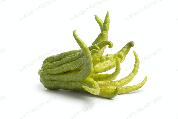 Whole single fingered citron fruit