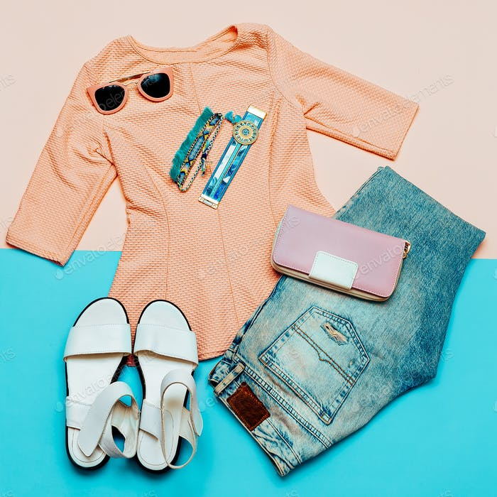 Vintage Pink Jacket for Lady and Accessories. Denim. Summer Tren