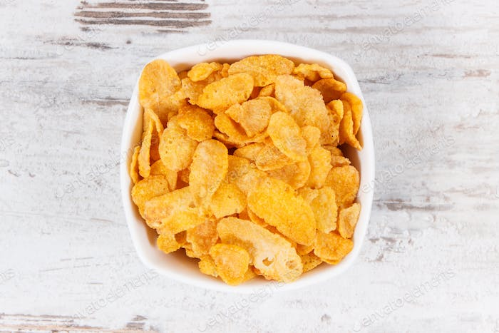 Cornflakes as source carbohydrates and dietary fiber, nutritious eating concept