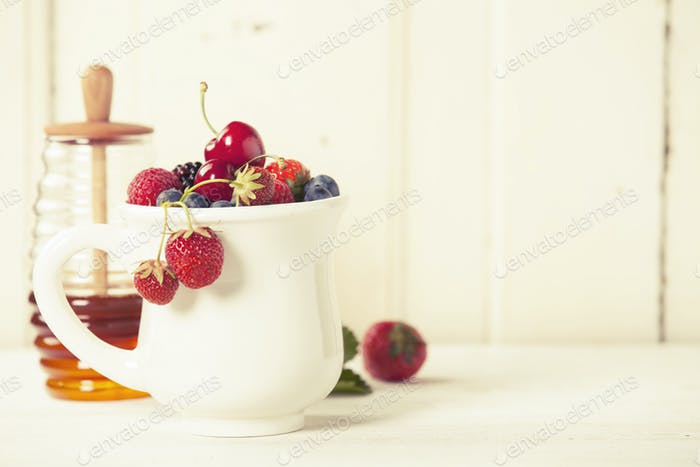 Mixed berries in a cup