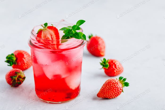 Strawberry Basil Iced Tea or lemonade in a jars