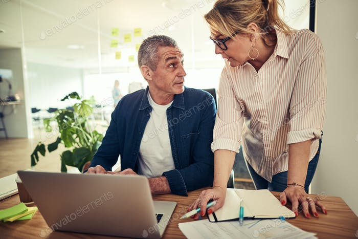Two mature businesspeople discussing work together at an office desk