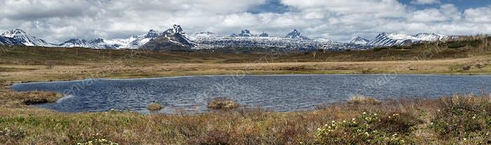 Spring Landscape of Kamchatka Peninsula: Panoramic view of Mountain Lake