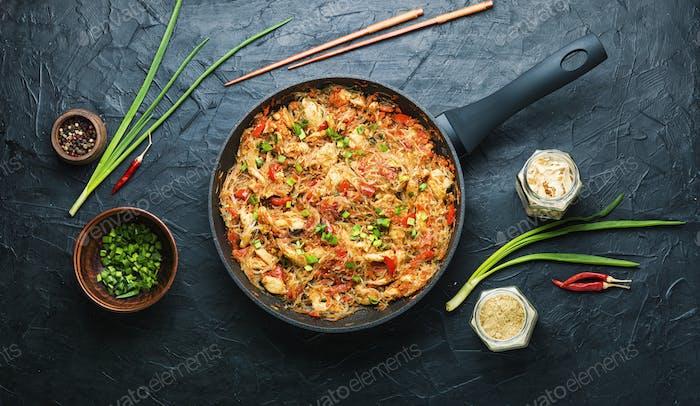 Funchoza dish of Asian cuisine