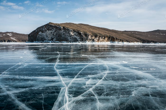beautiful landscape view of frozen river and mountains in winter, Russia, Lake Baikal, march 2016