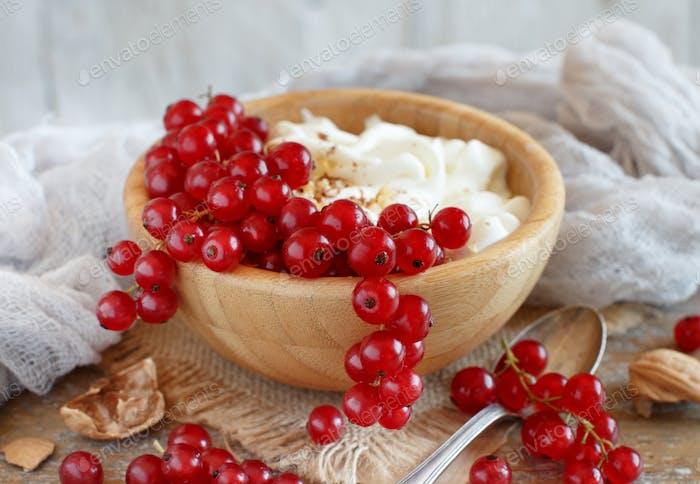Rote Johannisbeeren und Joghurt