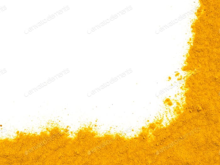 Turmeric Powder on white with copy space