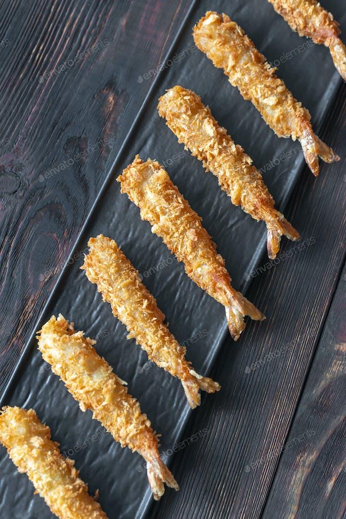 Shrimp tempura on the plate