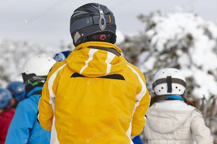 People ready to ski on a snowy landscape. Winter sport
