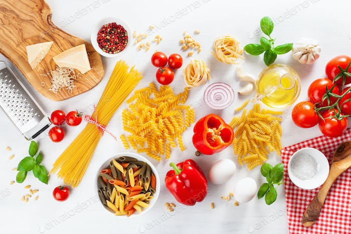 ingredients for italian cousine flat lay, pasta spaghetti penne