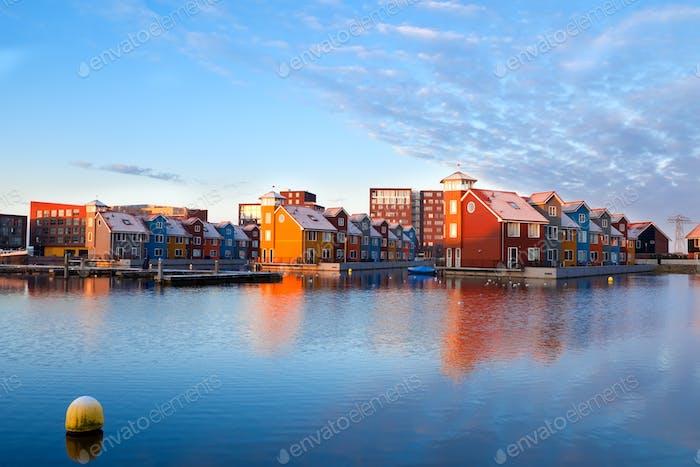 buildings on water at Reitdiephaven, Groningen