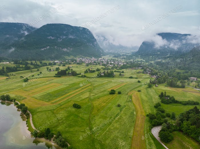 Rural landscape and Julian Alps, aerial view