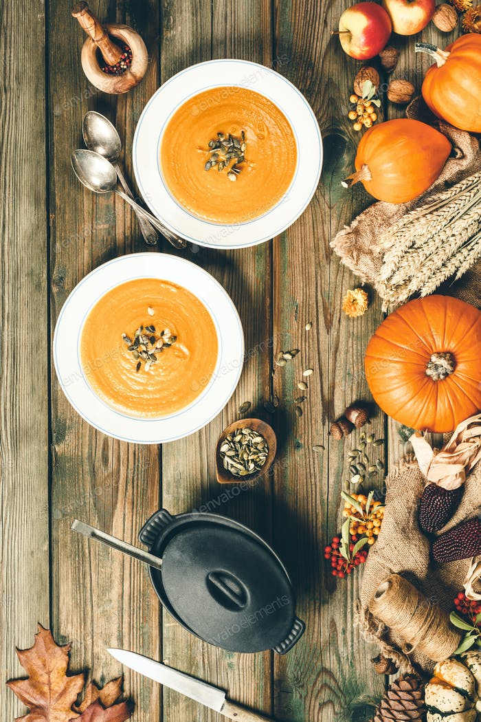 Vegetable or pumpkin soup and ingredients, flat lay