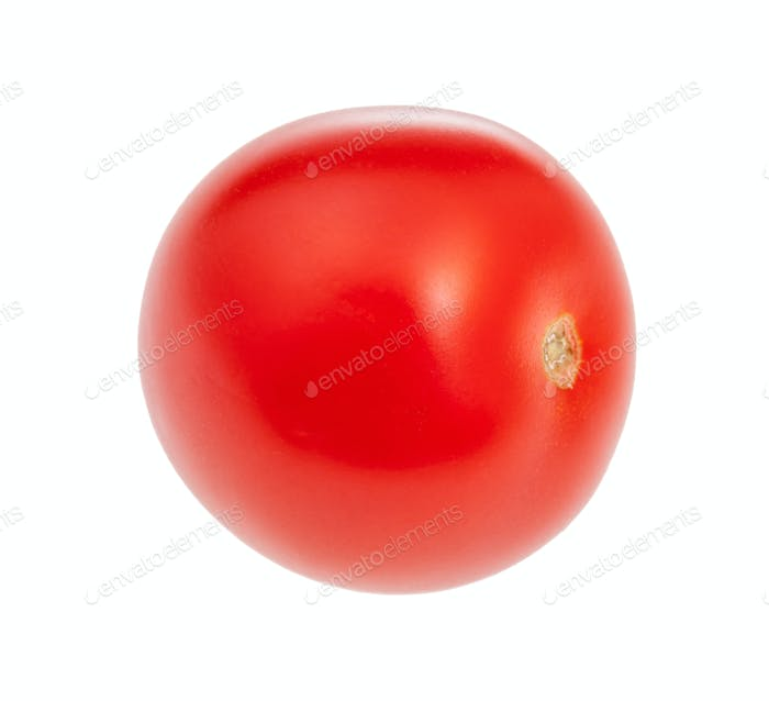 single little fresh red cherry tomato isolated