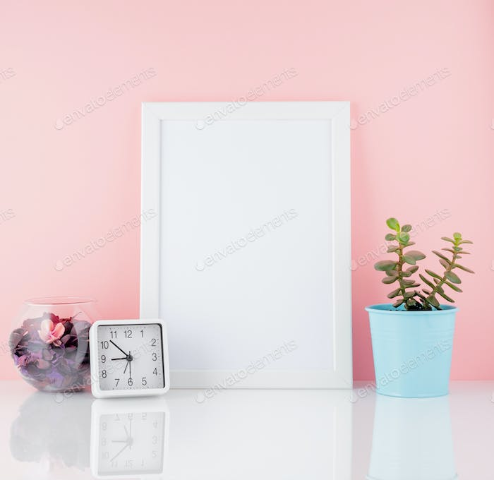 Blank white frame and plant cactus