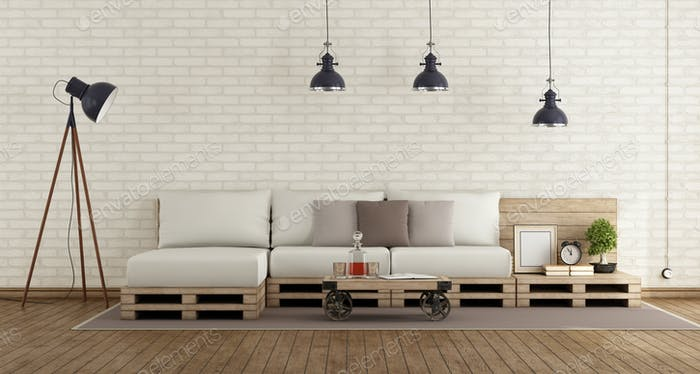 Retro living room with pallet sofa
