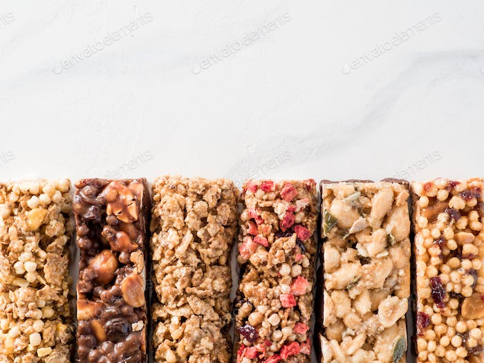 Set of different granola bars