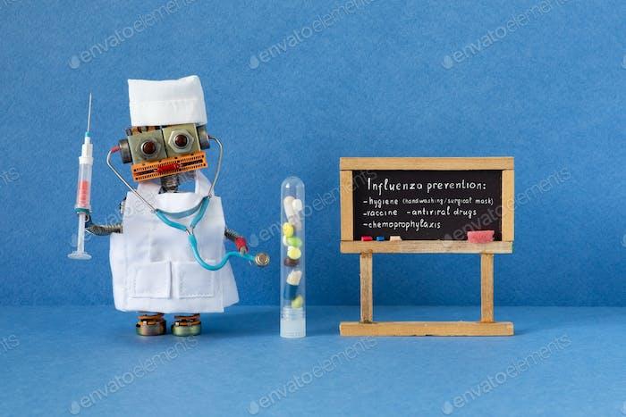 Flu prevention poster. Robotic medic holds antiviral drug container and blood test syringe.