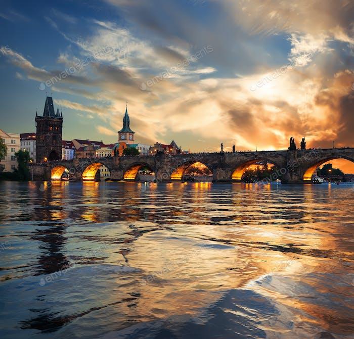 Fiery sunset in Prague