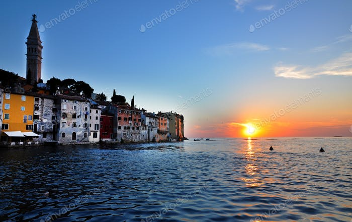 Coastal town of Rovinj and the Adriatic sea in sunset. Istria, Croatia