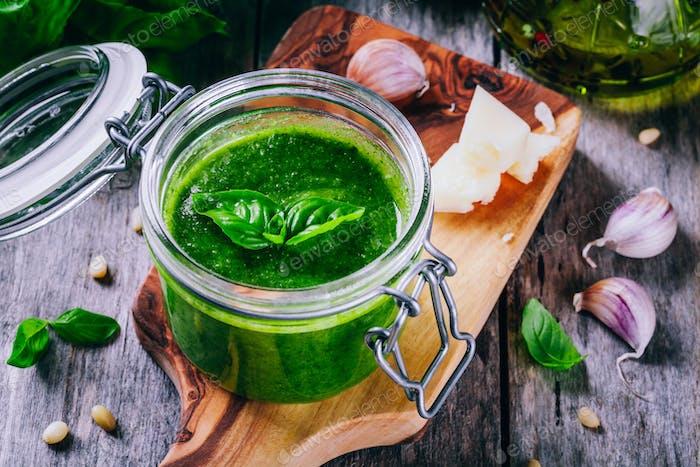 homemade pesto in a glass jar