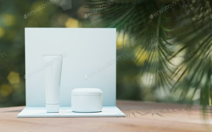 Natural Cosmetic product presentation. Ourdoors garden placement. White blank Jar shampoo bottle