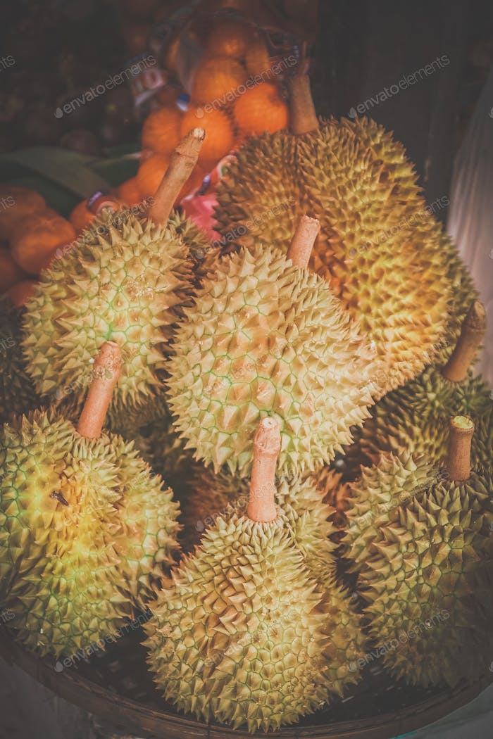 Pile of durian fruits on the market