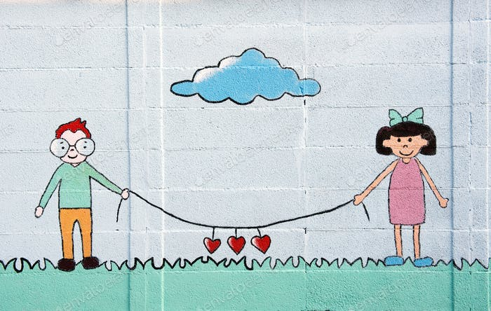 Wall mural of two young children