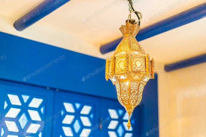 Light lamp in morocco style decoration interior