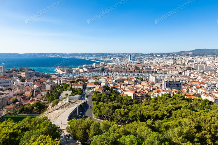 Aerial view of Marseille city from Notre dame de la garde cathed