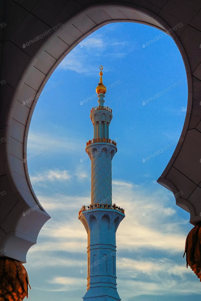 Minaret of Mosque, Abu Dhabi, United Arab Emirates.