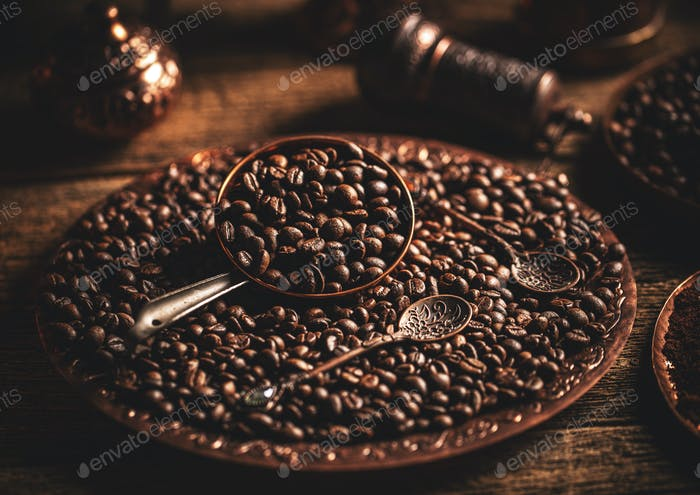 Coffee beans in copper plate