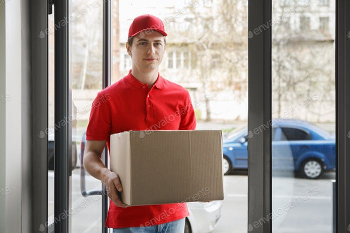 Convenient home delivery. Courier come at house and holding box