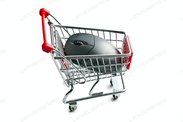 computer mouse in shopping cart
