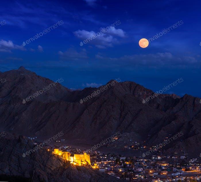 Night view of Leh, Ladakh, India